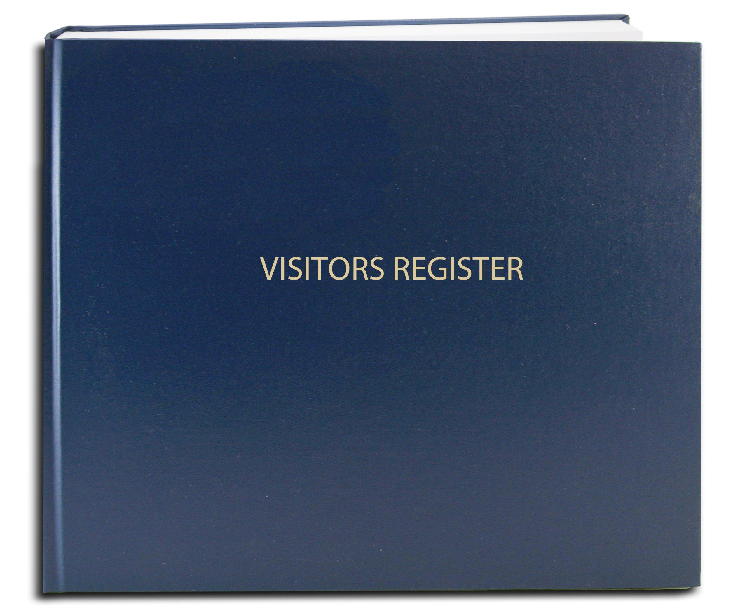 BookFactory Visitor Log Book / Visitor Register / Visitor Sign-In Book - 120 Pages, 8 7/8'' x 7'' - Blue Cover, Smyth Sewn Hardbound (LOG-120-Visitor-A-LBT34)