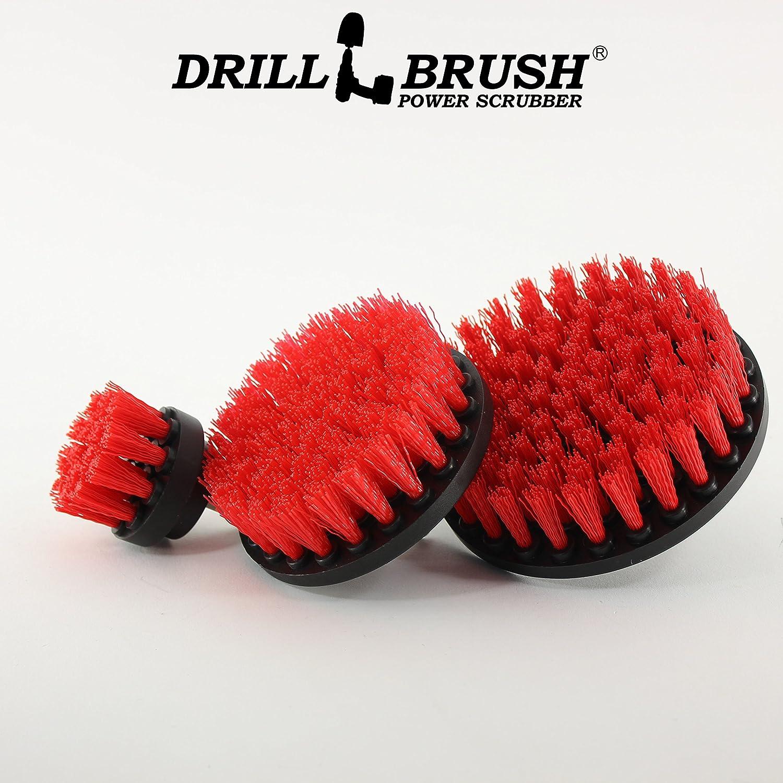 Drillbrush Neue Schnellwechselwelle steifen Borsten Nylon Rundb/ürste Akku-Bohrschrauber Powered 3-B/ürsten-Ausr/üstung rot