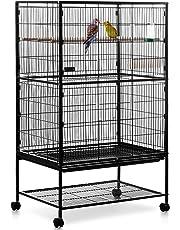 Milo & Misty Volière Cage à Oiseaux à 2 Étages perruches, Cacatoès, perroquets - Noir