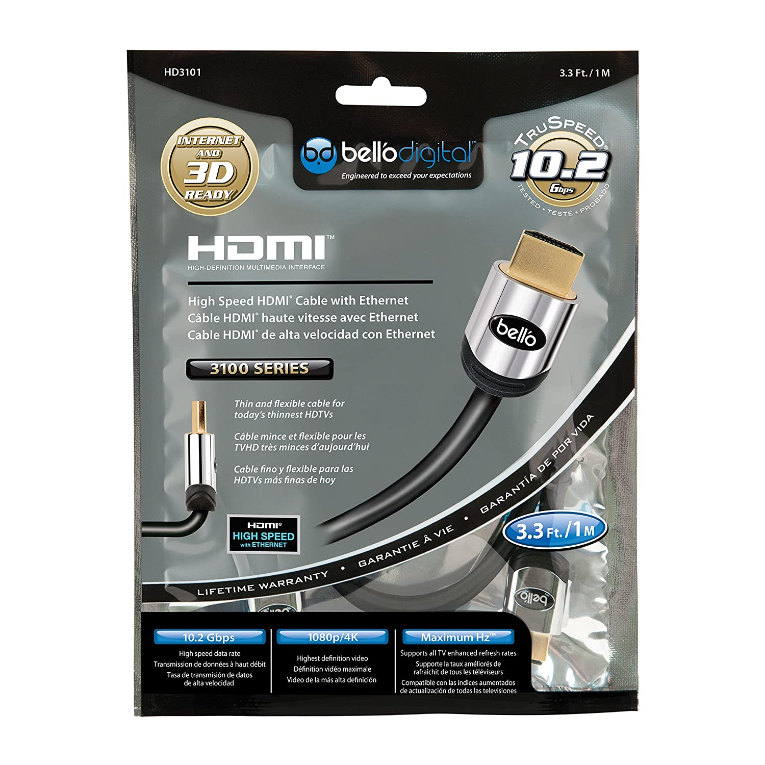 High Quality BELL/'O HD3100  HIGH SPEED 13FT HDMI CABLE WITH ETHERNET
