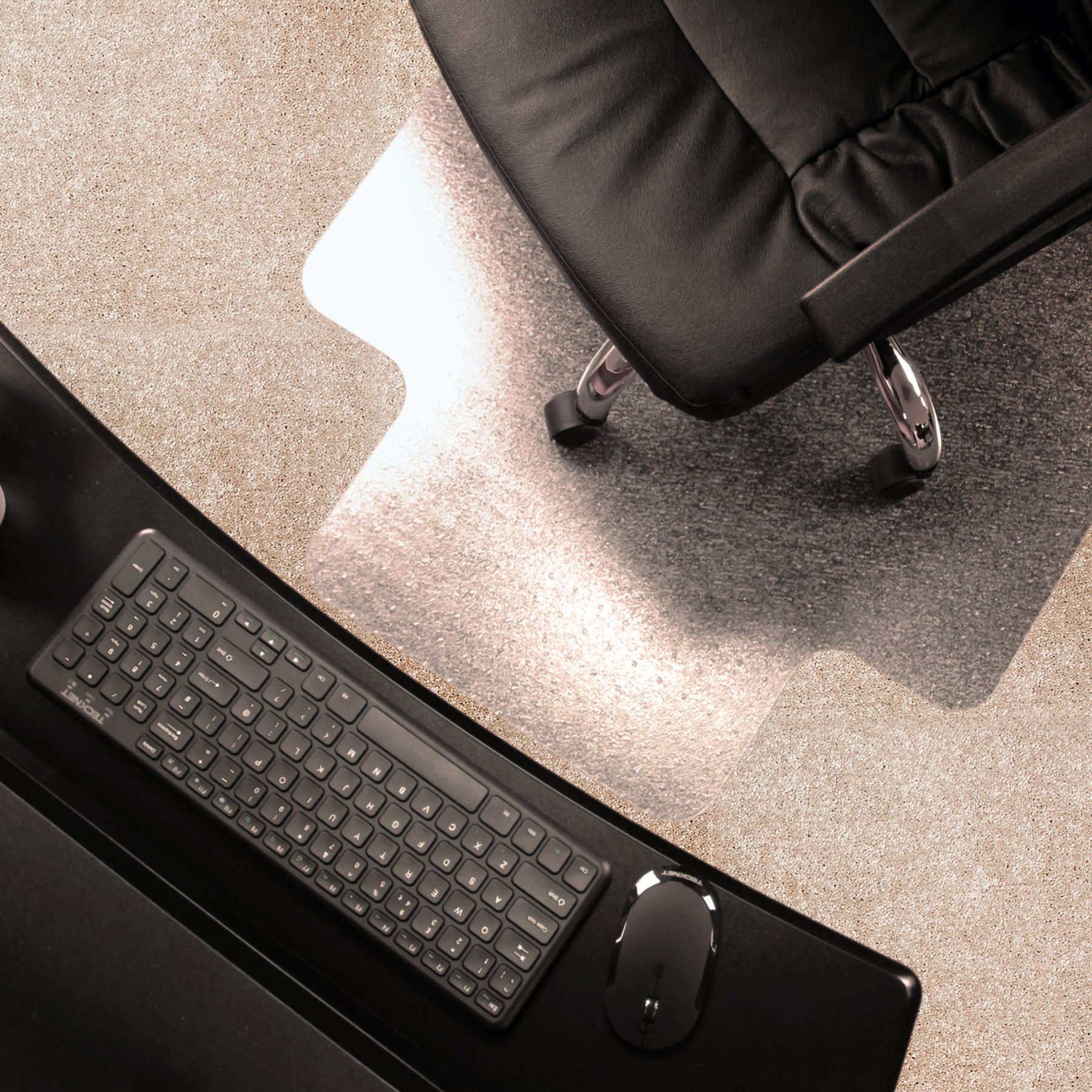 Marvelux 48'' x 51'' ECO (Enhanced Polymer) Lipped Chair Mat for Low and Standard Pile Carpets | Transparent Carpet Protector | Multiple Sizes