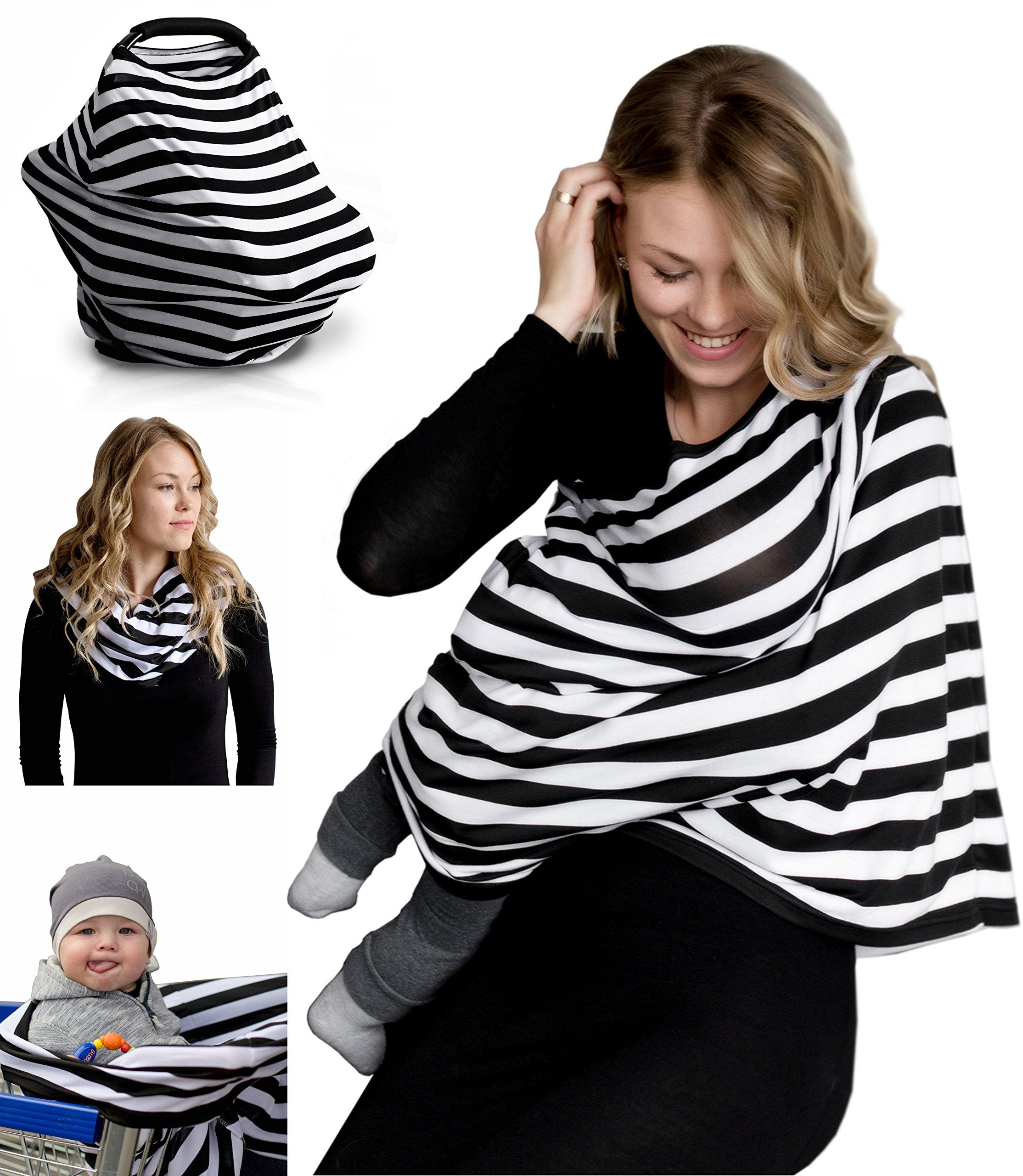 Nursing Breastfeeding Cover Scarf - Baby Car Seat Canopy, Shopping Cart, Stroller, Carseat Covers for Girls and Boys - Best Multi-Use Infinity Stretchy Shawl