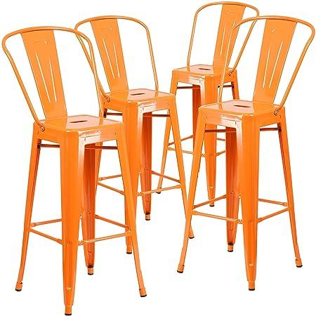 Flash Furniture 4 Pk. 30 High Orange Metal Indoor-Outdoor Barstool with Back