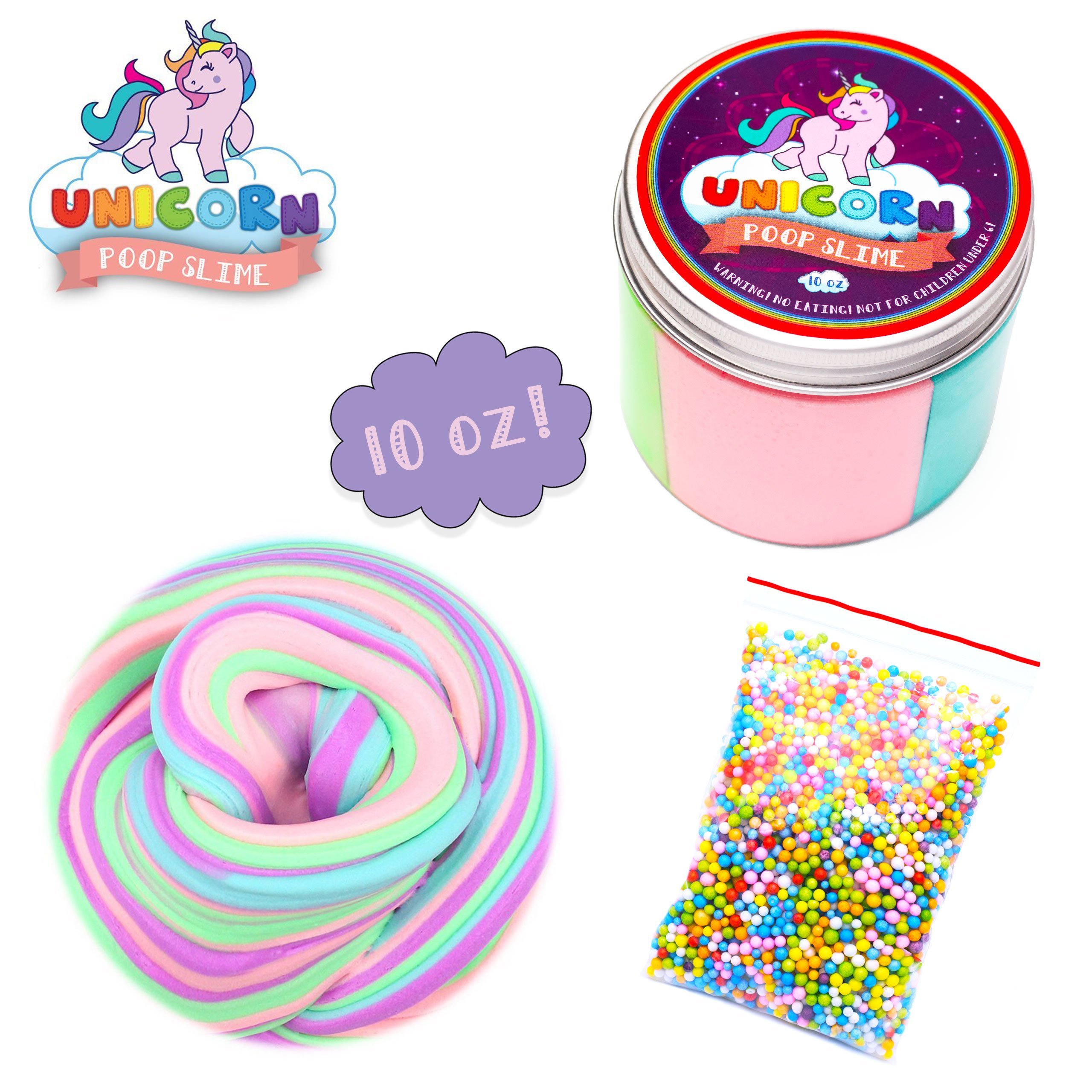 Fluffy Unicorn Poop Slime kit - Unicorn gifts for girls - Soft extra Fluffy Floam putty package by My Playful Kiddos (Image #1)