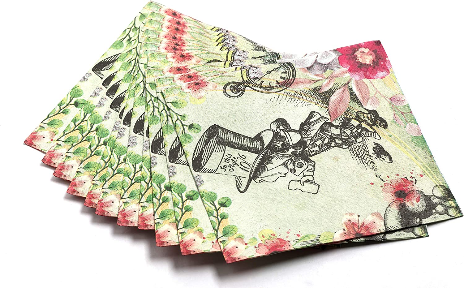 4 Vintage Table Paper Napkins for Decoupage Lunch Party Little Girl /& Umbrella