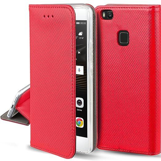 143 opinioni per Cover Huawei P9 Lite Rosso- Custodia a libro Flip Smart magnetica de Moozy® con