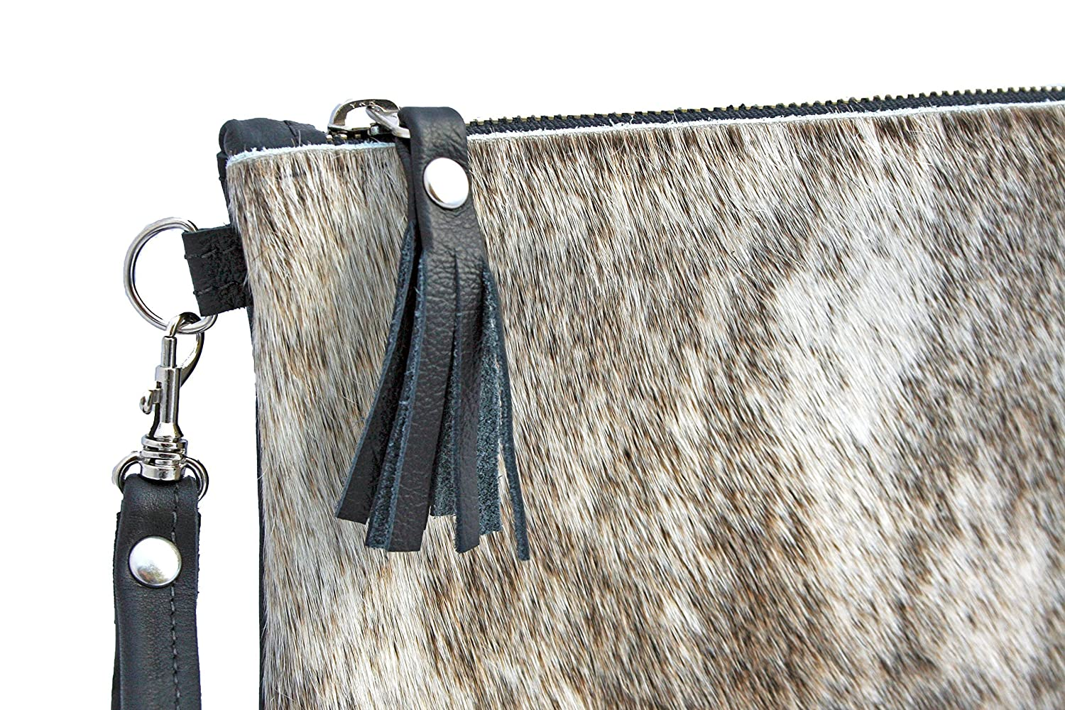 Cowhide Leather Wristlet -Gray Brindle Fur Clutch with Tassel & Zipper