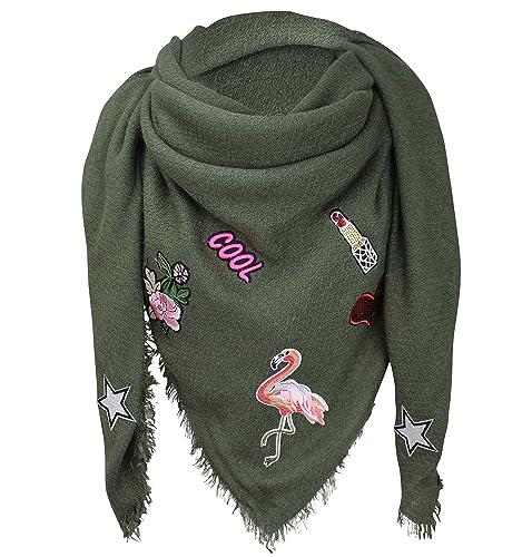 XXL parches Pegatinas Flamingo Mujer Cuadros–Pañuelo de cuadros bufanda pañuelo Fashion Plaid Loop