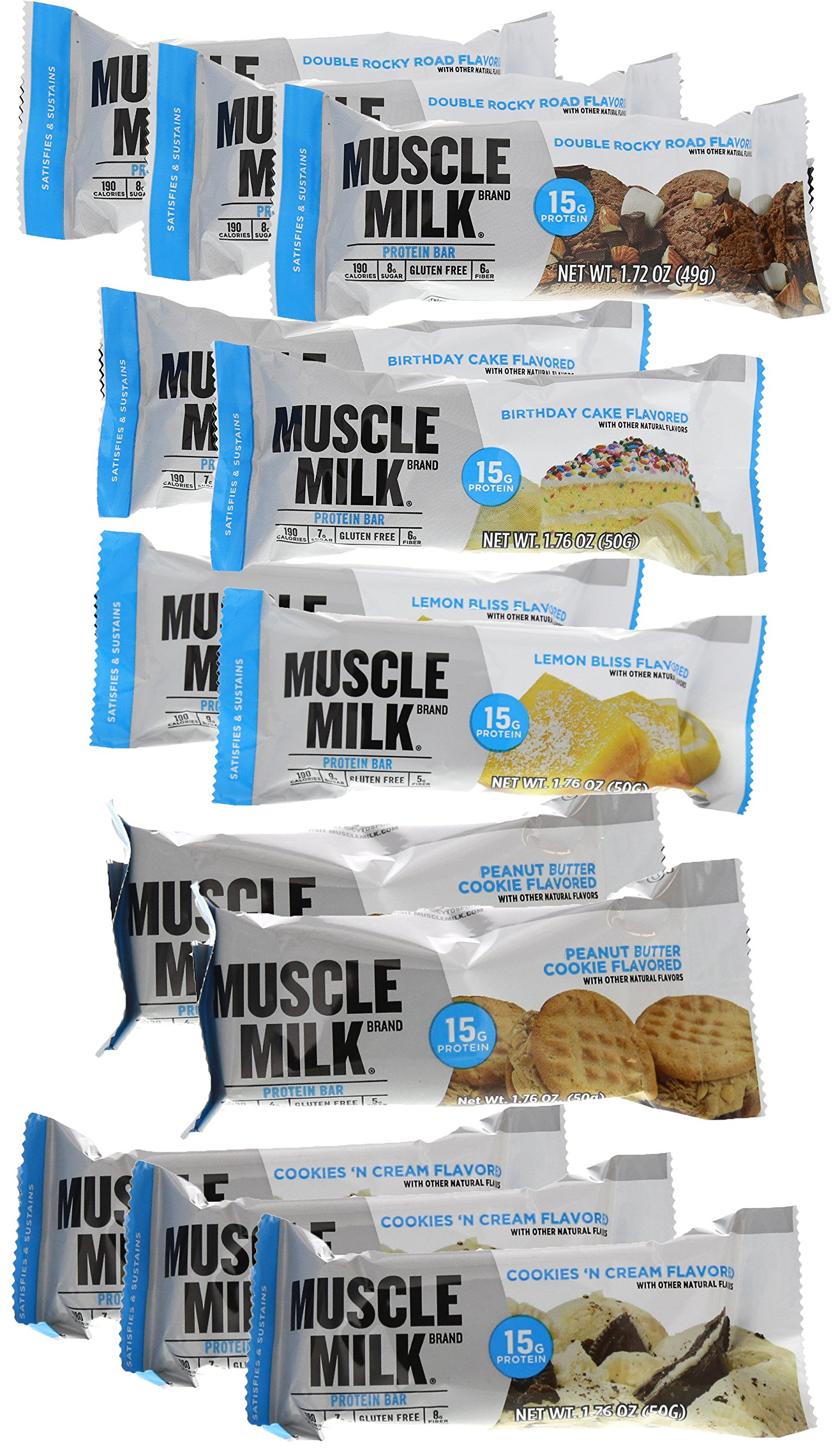 Cytosport Muscle Milk Blue Bar Variety Pack 12 176oz Bars
