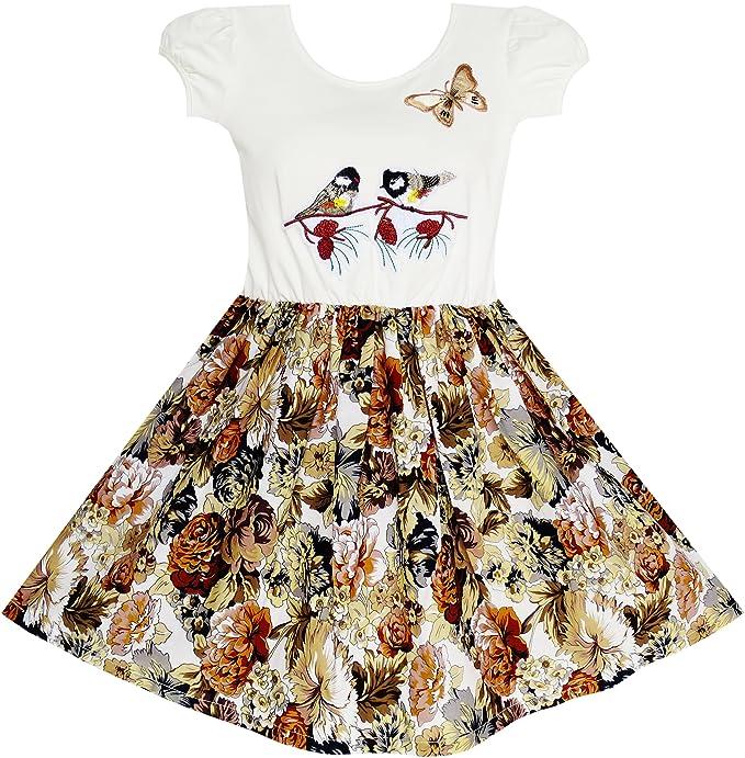 Sunny Fashion Vestido para niña Vintage Pájaro Mariposa Colegio Fiesta 5-10 años: Amazon.es: Ropa y accesorios