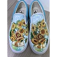 d40cc098d7 Vincent Van Gogh Sunflowers Vans Authentic Custom Shoes Vans Authentic Custom  Hand Painted Shoes Hand Painted