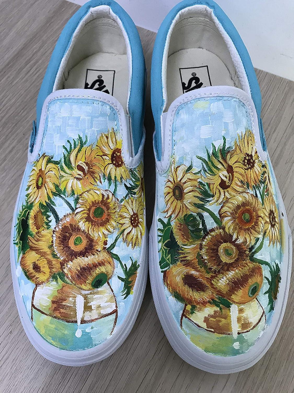 52439ddc51 Vincent Van Gogh Sunflowers Vans Authentic Custom Shoes Vans Authentic  Custom Hand Painted Shoes Hand Painted Vans Authentic Custom Vans Sneakers  FREE ...