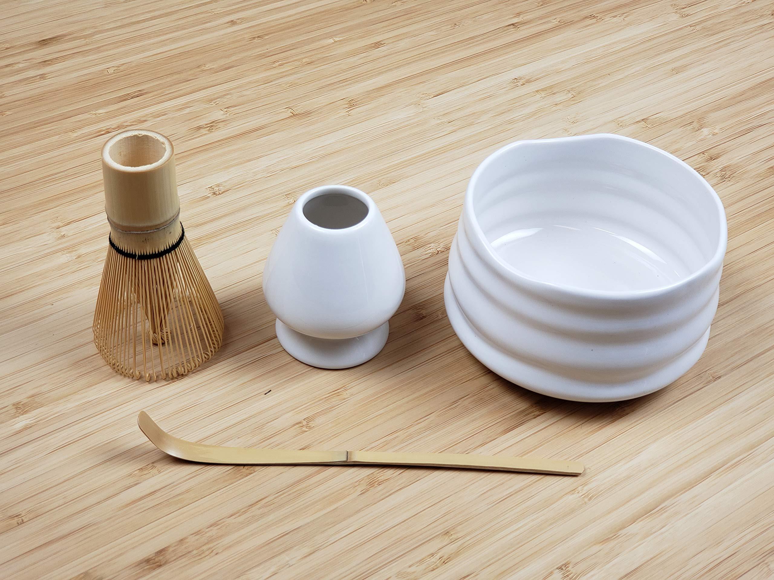 Matcha Starter Set White   5-Pieces Matcha Gift Set - Includes Japanese Ceremonial Matcha 1oz, Tea Bowl, 120-Prong Whisk, Chashaku Scoop, Whisk Stand   Elegant Design