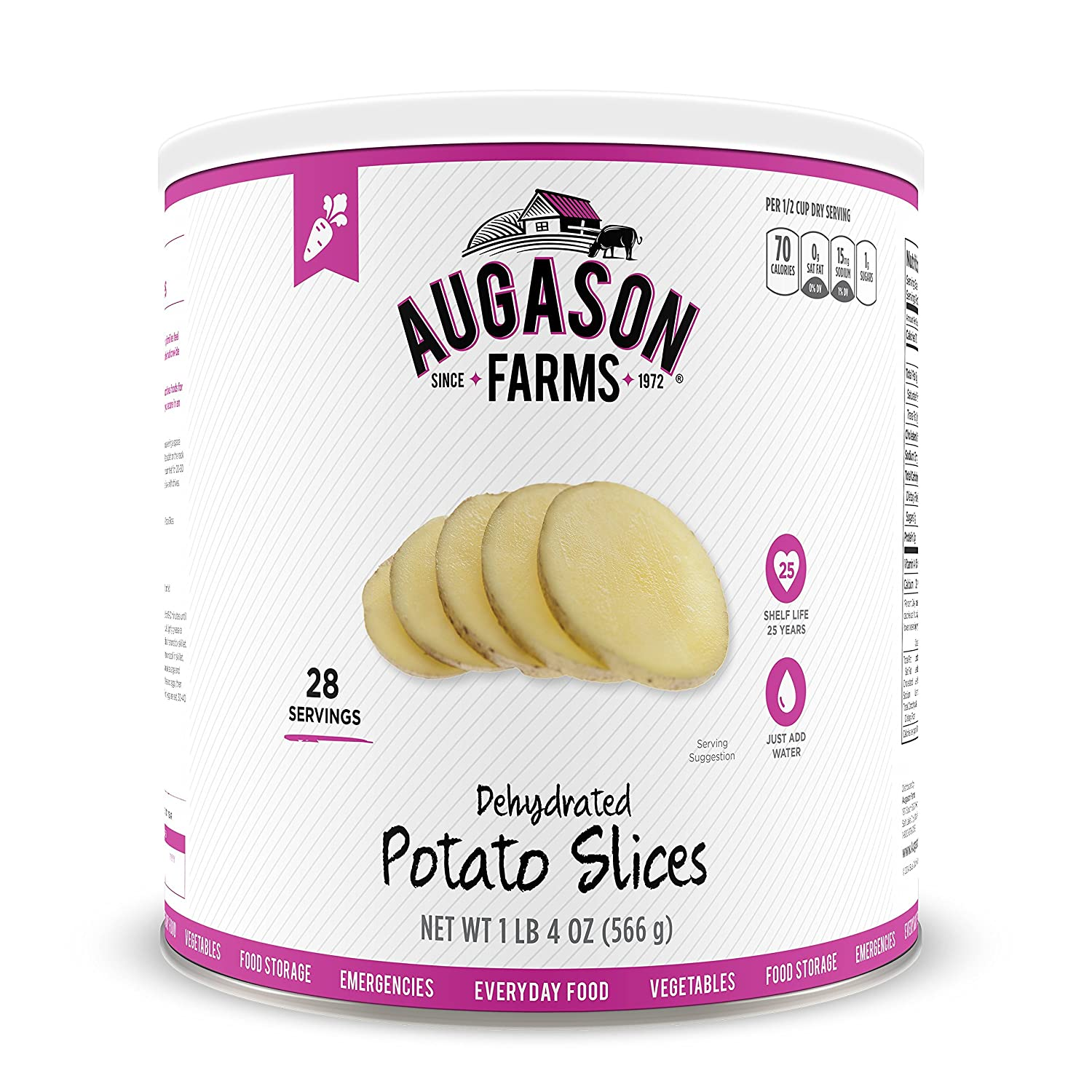 Augason Farms Dehydrated Potato Slices 1 lb 4 oz No. 10 Can Pink 3-pack (no. 10 can) Blue Chip Group