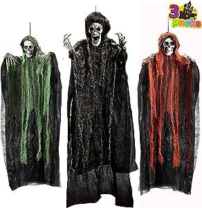 "Halloween Hanging Grim Reapers (3 Pack), One 53"" and Two 31.5"" Halloween Grim Reapers, Halloween Skeleton Flying Ghost for Haunted House Prop Décor, Halloween Outdoor Indoor Decor"