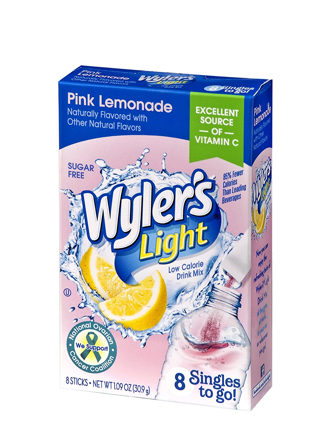 Wyler's Light Singles To Go Powder Packets, Water Drink Mix, Pink Lemonade, 96 Single Servings (Pack of 12)