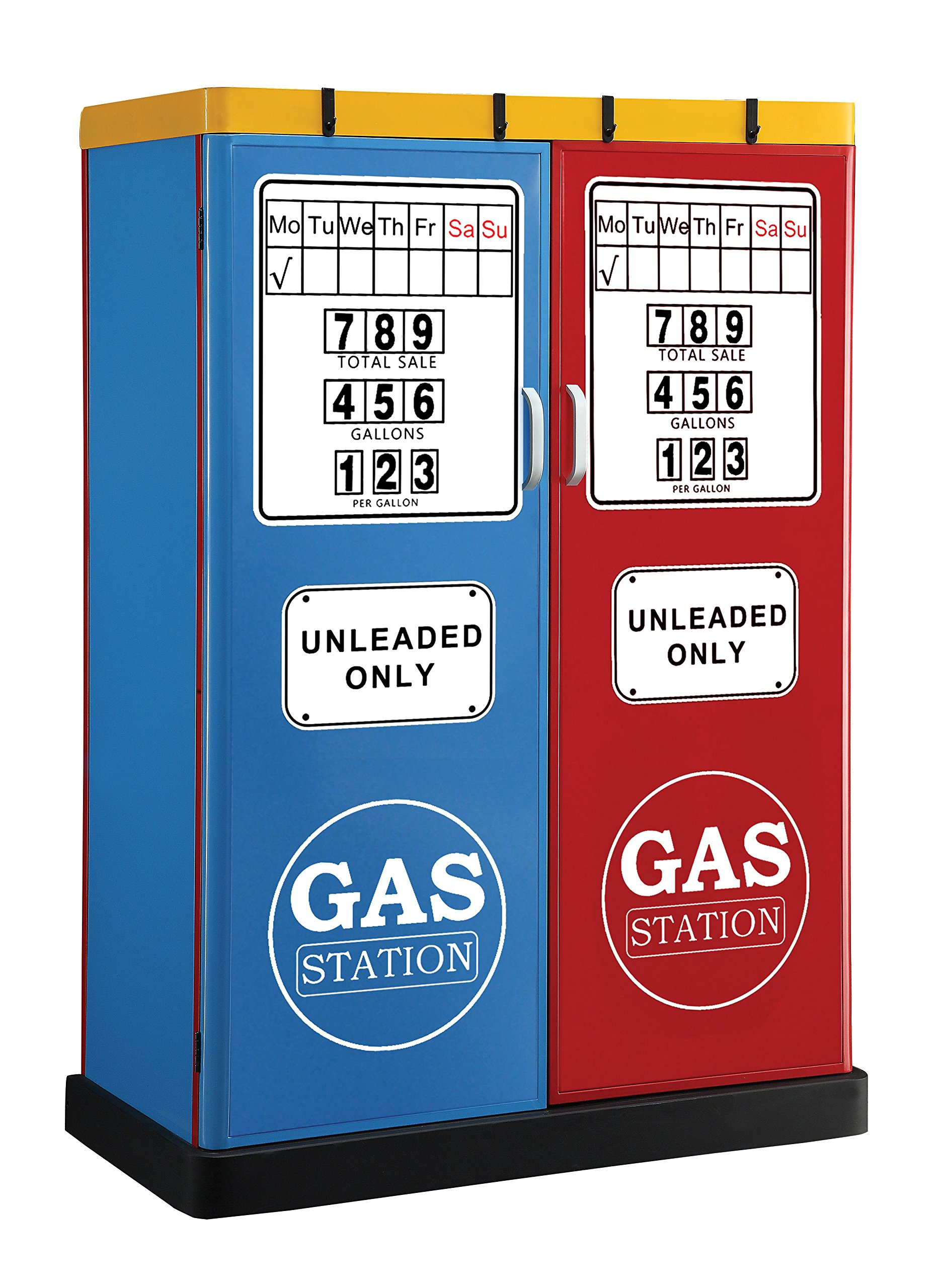 Furniture of America Rotella Gas Station Two-Door Metal Closet, Blue/Red by Furniture of America