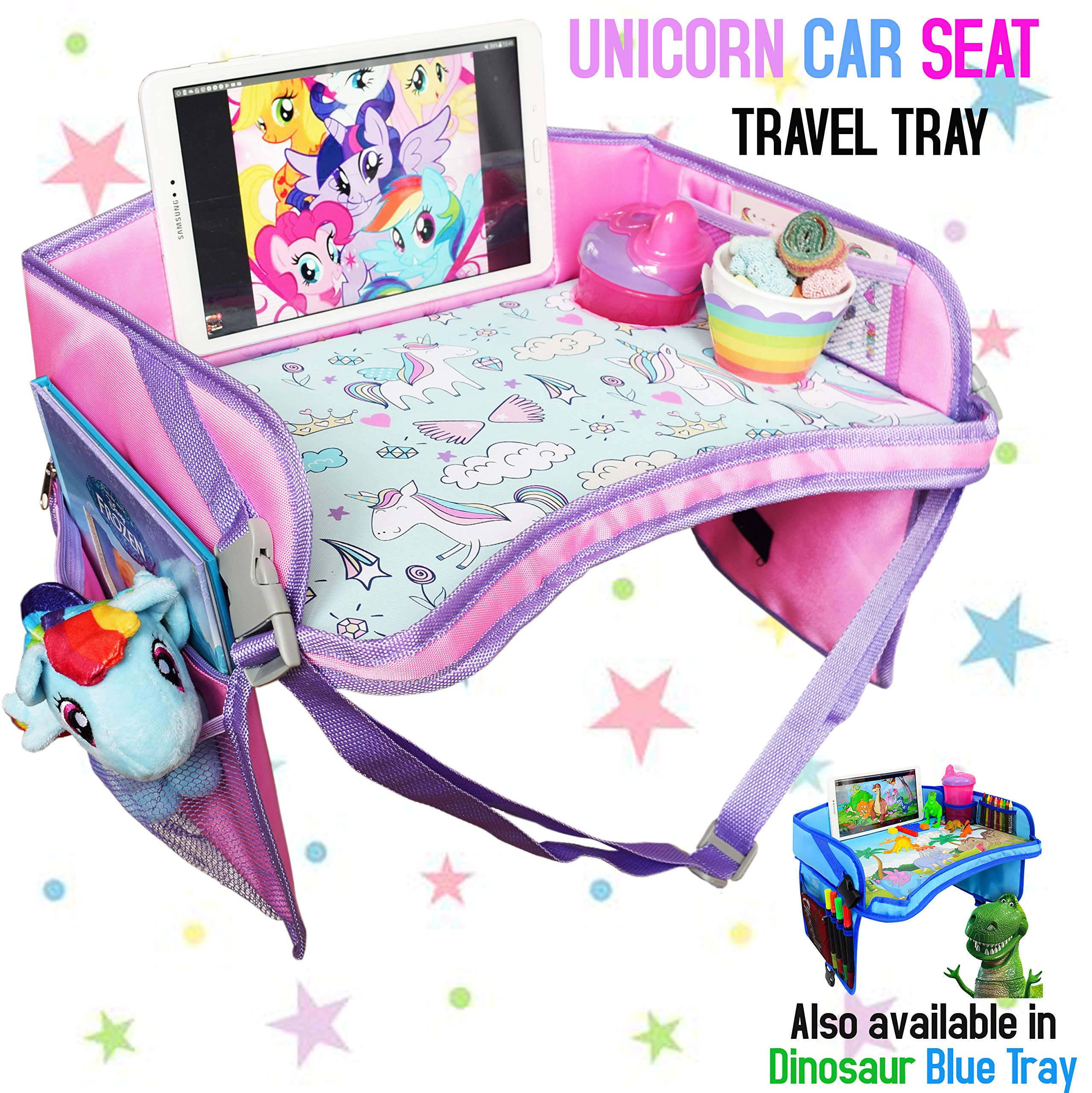 CarSeat Tray - The Only One Toddler Travel Tray Guaranteed to Keep Kids Occupied & Entertain for Hours, Prevent Frustration While Driving, Perfect Unicorn Gifts for Girls by ecoZen Lifestyle