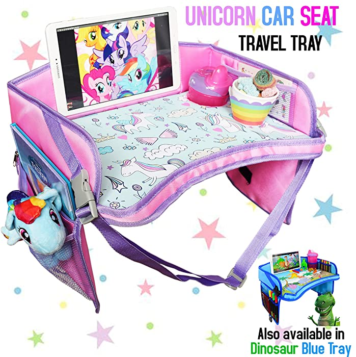 CarSeat Tray - The Only One Toddler Travel Tray Guaranteed to Keep Kids Occupied & Entertain for Hours, Prevent Frustration While Driving, Perfect Unicorn Gifts for Girls