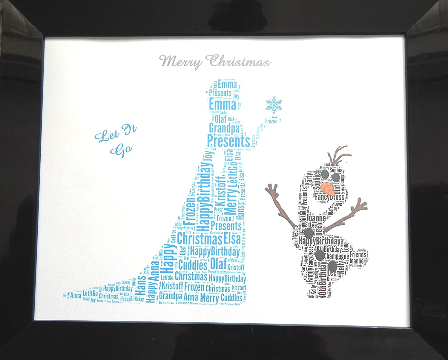 Personalised \'Frozen, Elsa & Olaf\' Word Art, Christmas Gift or ...
