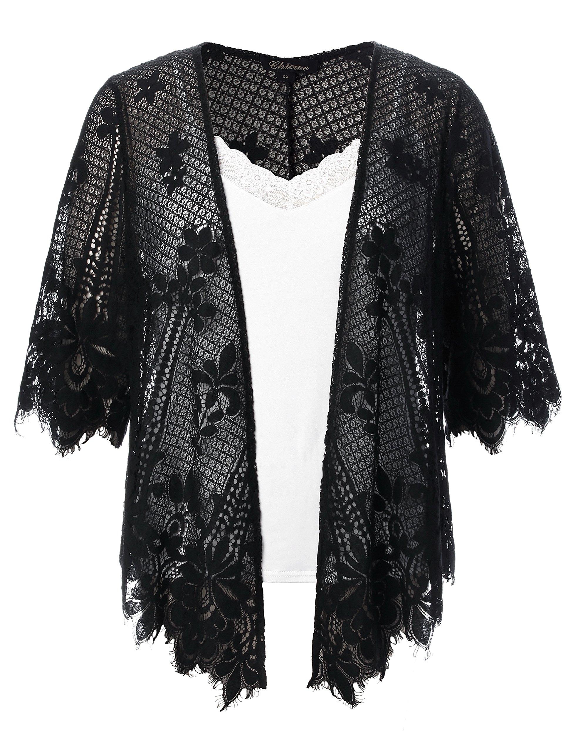 Chicwe Women's Plus Size Scalloped Lace Kimono Lace Cover Up Top Black 2X