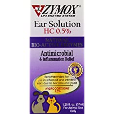 Dog & Cat supplies Zymox Enzymatic Ear Solution with 0.5-Percent Hydrocortisone, 1.25-Ounce Pet ear solution