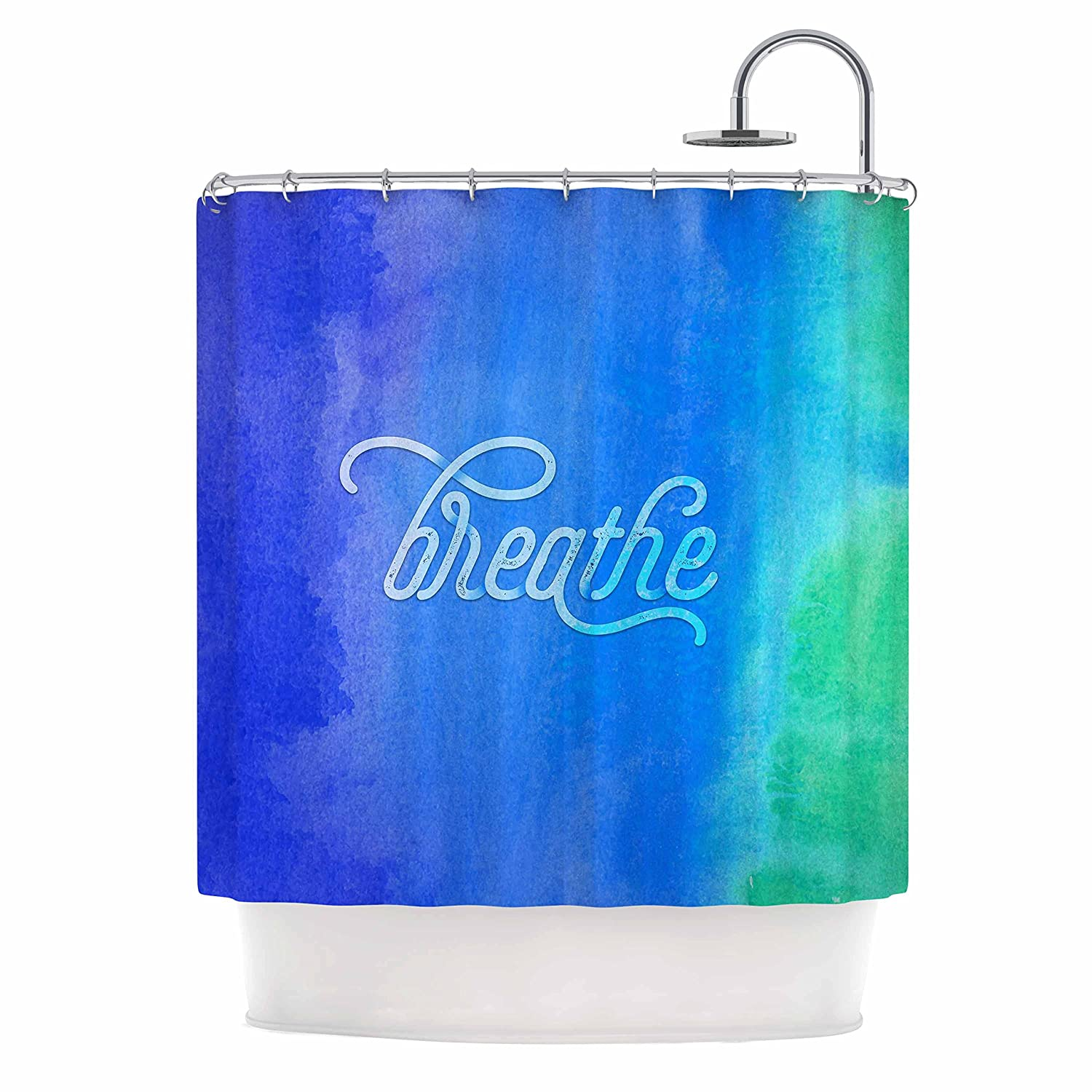 Kess InHouse Noonday Design Breathe Blue Green Shower Curtain, 69 by 70'