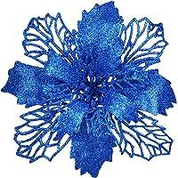 Artiflr 16 Pcs Christmas Poinsettia Flowers, Artificial Flowers Glitter Poinsettia Christmas Wreath Christmas Tree…