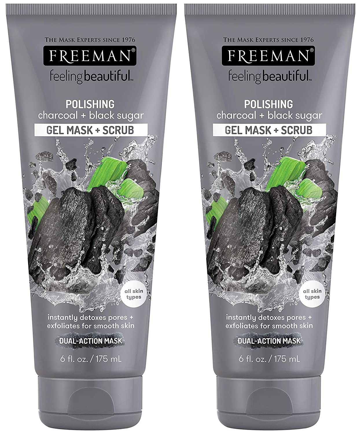 Freeman Feeling Beautiful Charcoal & Black Sugar Gel Mask and Scrub, 6-Ounce (Pack of 2)