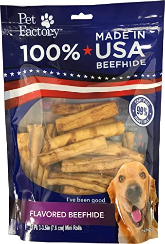 Pet Factory 78142 Beefhide Dog Chews, 99 Digestive, Rawhides to Keep Dogs Busy While Enjoying, 100 Natural, Chicken Flavored Mini Rolls, Pack of 35 in 3-3.5 Size, Made in USA