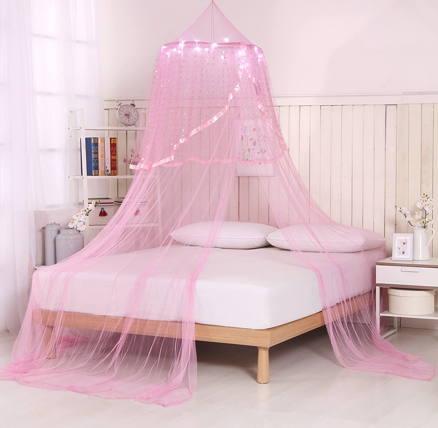 Amazoncom Princess Bed Canopy With Star Lights And Remote (Pink)