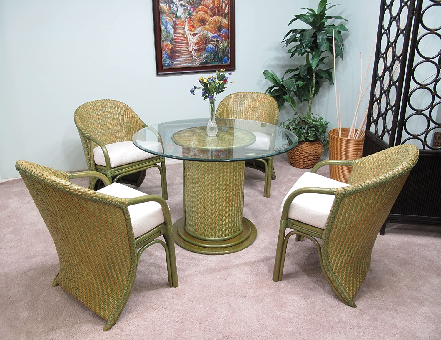 Swell Amazon Com Premium Vintage Rattan Furniture Rio 5Pc Dining Ocoug Best Dining Table And Chair Ideas Images Ocougorg
