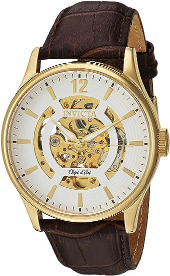 INVICTA OBJET D ART RELOJ DE HOMBRE AUTOMÁTICO 44MM CORREA DE CUERO 22595: Amazon.es: Relojes