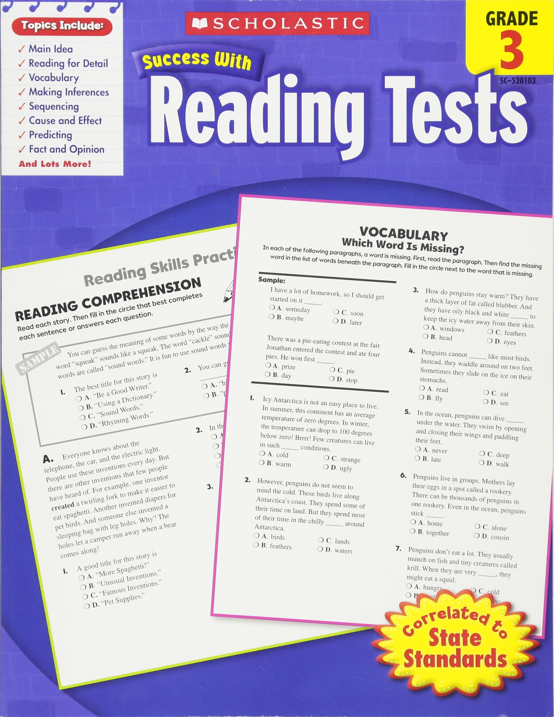 Scholastic Success With Reading Tests, Grade 3 (Scholastic Success with  Workbooks: Tests Reading) Paperback – March 1, 2010
