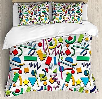 Amazoncom Lunarable Colorful Duvet Cover Set King Size Hipster - Geometrical-shapes-on-bedding