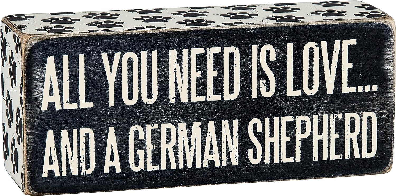 "Primitives by Kathy Paw Print Trimmed Box Sign, 6"" x 2.50"", German Shepherd"