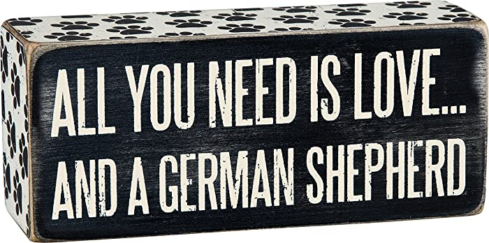 "Primitives by Kathy Paw Print Trimmed Box Sign, 6"" x 2.50"", German Shepherd"