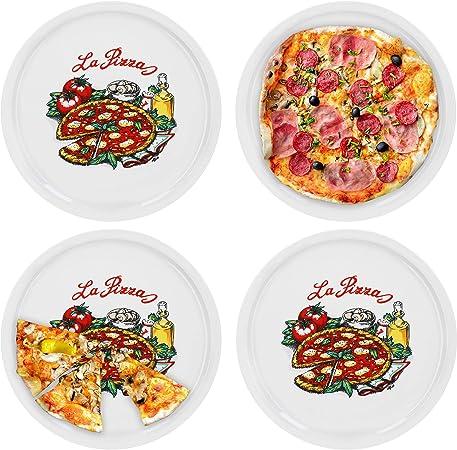 con motivo diametro 30,5 cm Van Well Napoli Set di 6 piatti da pizza in porcellana
