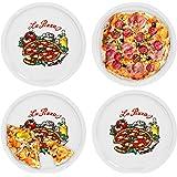VAN WELL Set di piatti per pizza Napoli Grande–30,5cm piatti in porcellana con schoenem Motiv–per pizza/Pasta, den 'Grande Fame' O zum anrichten adatto