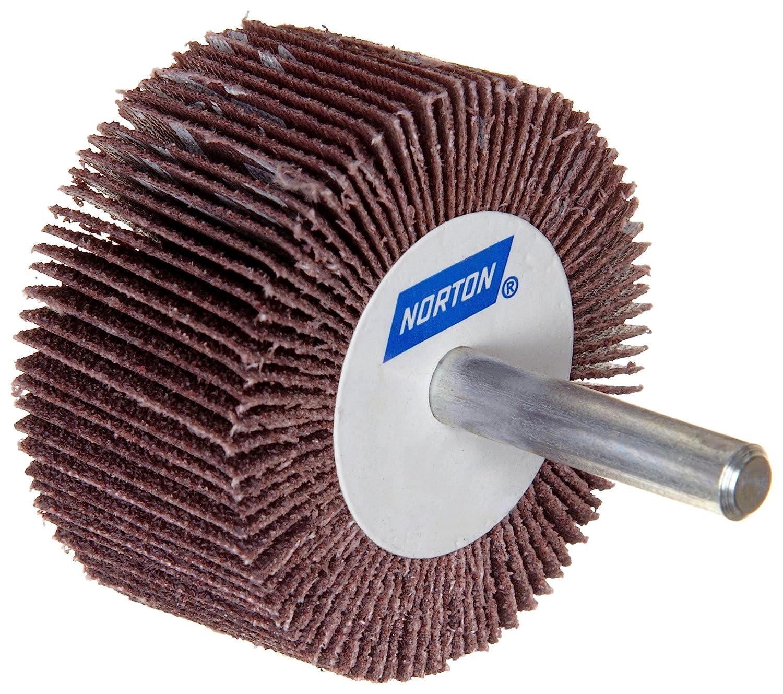 Grit 60 Pack of 10 1 Face Width Round Shank 3 Dia. 20000 Max RPM Aluminum Oxide Norton Metalite R265 Abrasive Flap Wheel