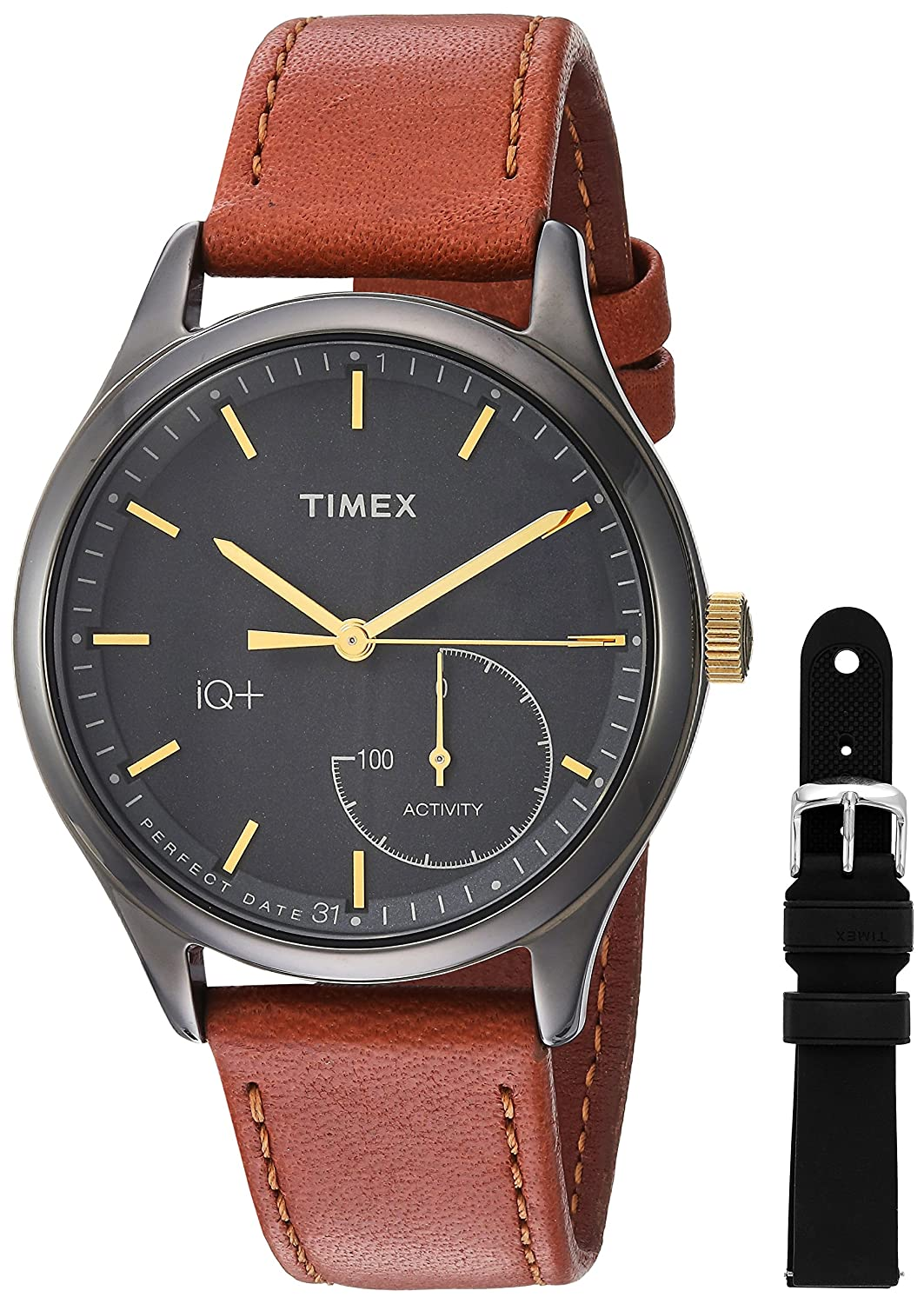 a3afa0f7a6c2 Amazon.com  Timex Women s TWG013800 IQ+ Move Activity Tracker Brown Leather  Strap Smart Watch Set With Extra Black Silicone Strap  Watches