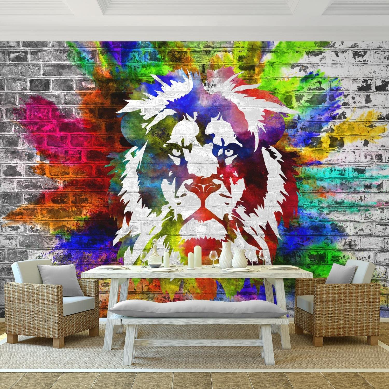 100/% made in Germany Leone colorato 352 x 250 cm Fotomurale tessuto non tessuto Soggiorno 9164011c Carta da parati moderna