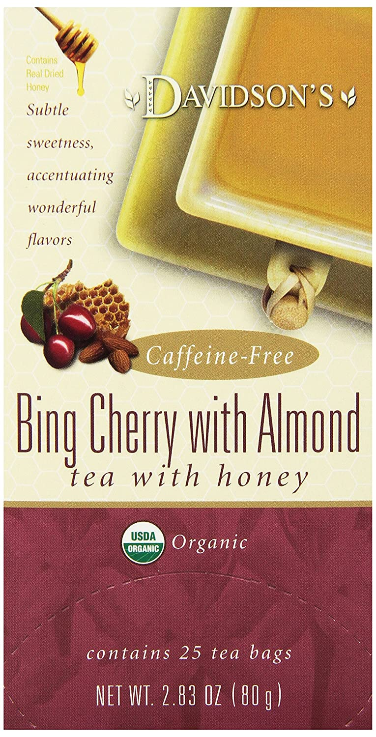 Davidson's Tea Bing Cherry with Almond, 25-Count Tea Bags, 2.83 Oz, (Pack of 6)
