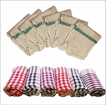 Venus Cotton Floor Duster/Wet & Dry Cleaning Cloth 6 Pcs(25 * 25 Inch)+ Cotton Kitchen Duster 6 Pcs(18 * 18 Inch)(Set of 12)
