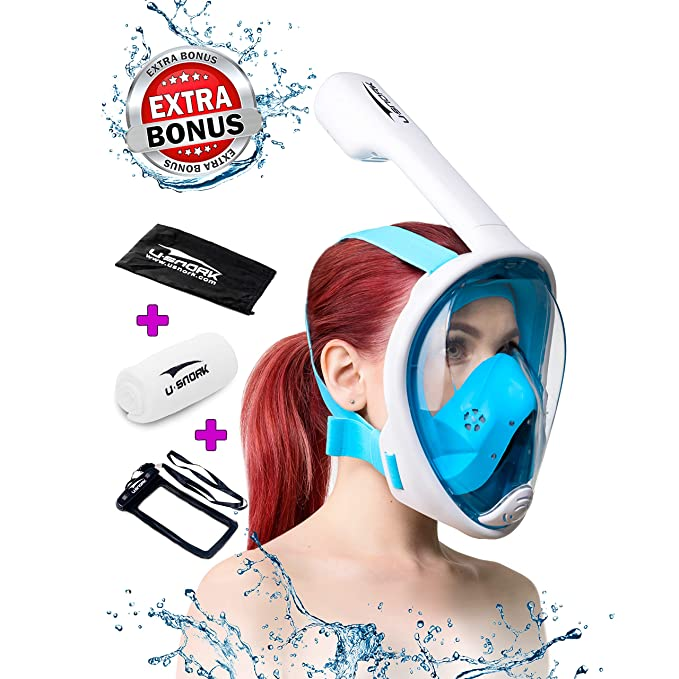 Snorkel Mask Full Face for Kids and Adults - Anti-Fog and Anti-Leak Easybreath Snorkeling Gear - Dive Scuba Mask with 180 Panoramic View and 4 Bonus Items as Snorkel Set (White-Blue, S/M) best snorkel masks