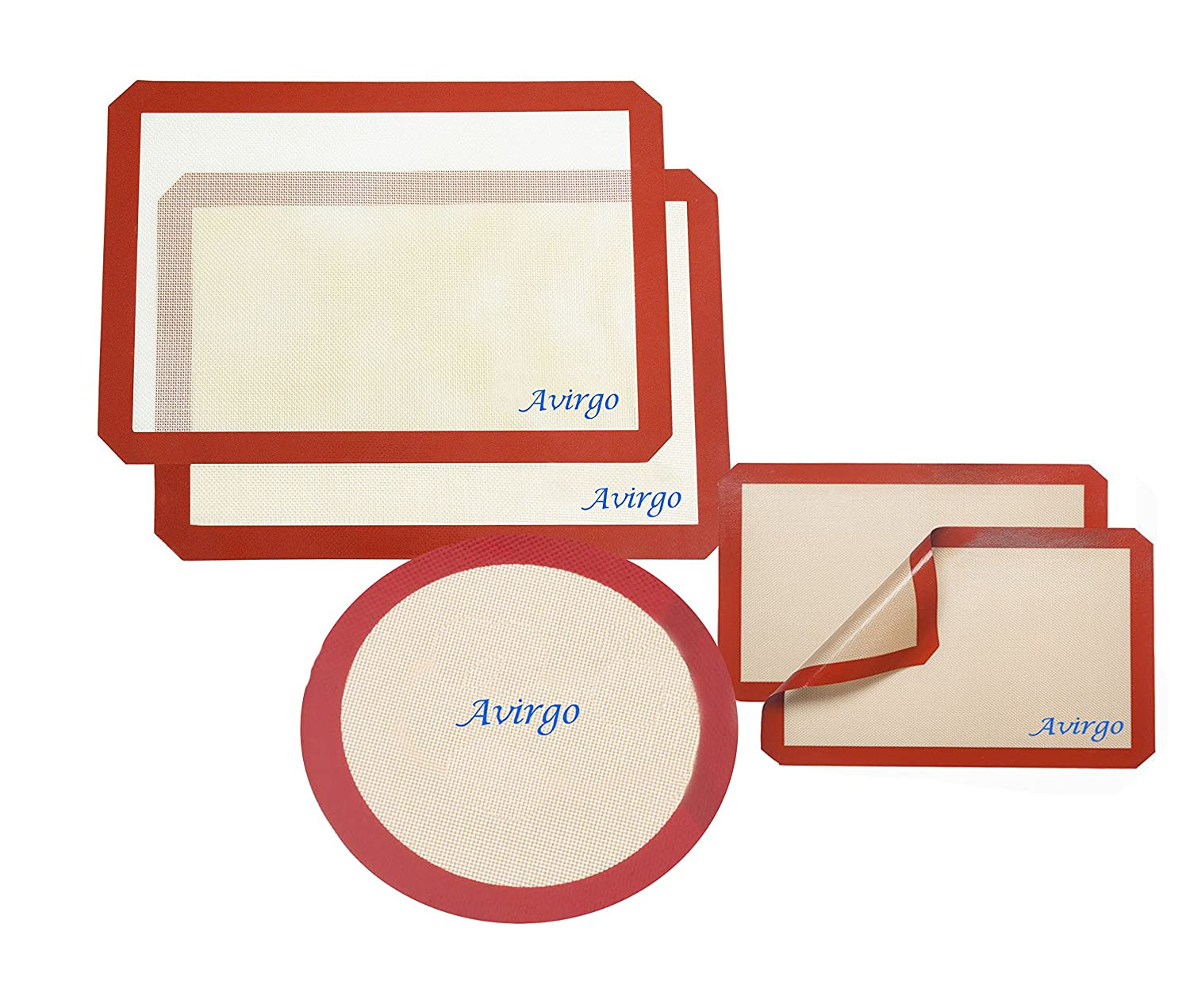 AVIRGO Silicone Baking Matプロフェッショナルグレードテフロン加工のシリコンLiner forベイクPans &ローリング round + 20x30 + 30x40 PN1 B078H7KN1S   round + 20x30 + 30x40