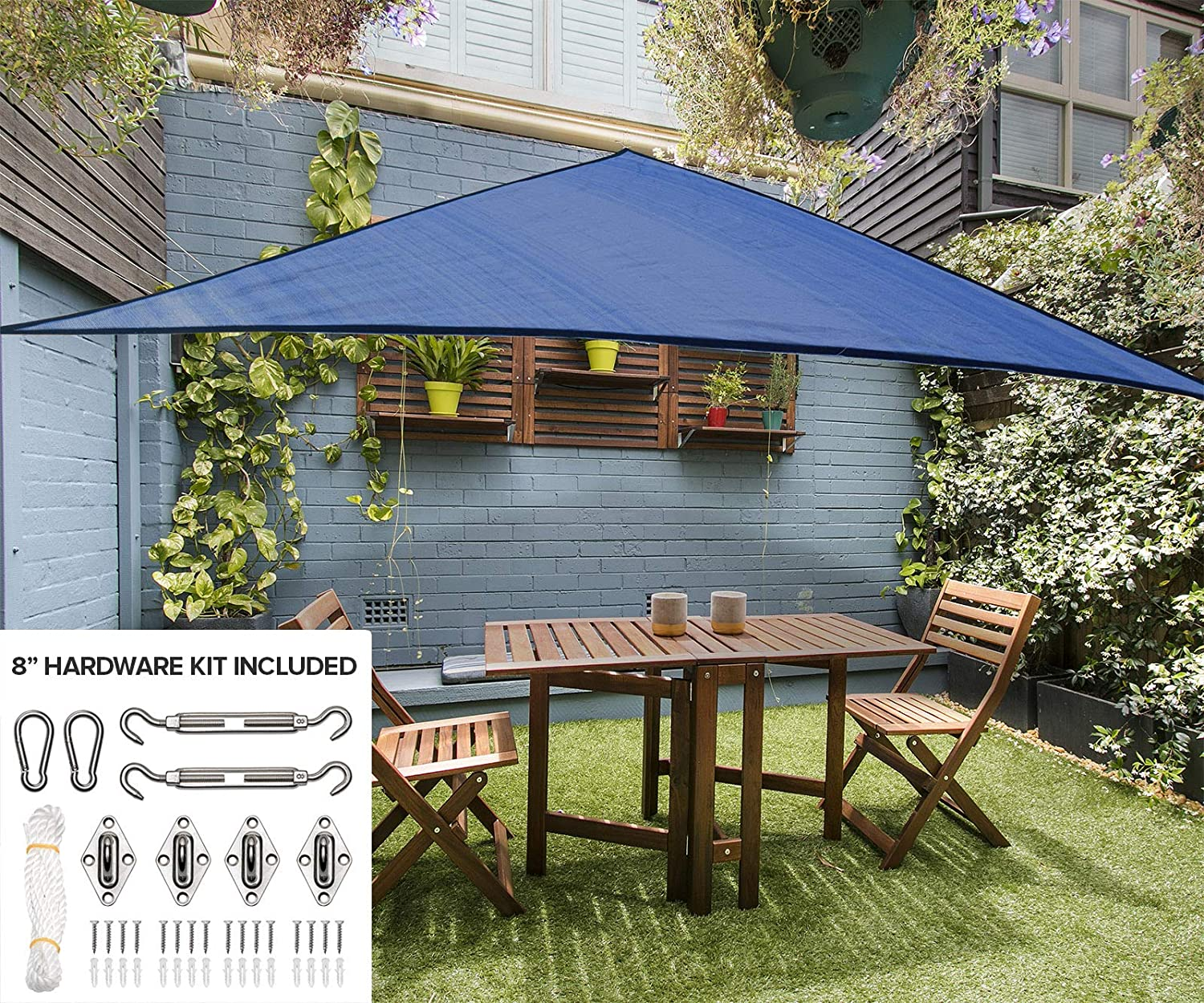 12 Triangle Sun Shade Sail Canopy in Cobalt Blue – Durable Outdoor Patio Cover Pergola Awning Sun Shade – Heavy Duty 8 inch Stainless Steel Hardware Kit 12 Triangle, Cobalt Blue