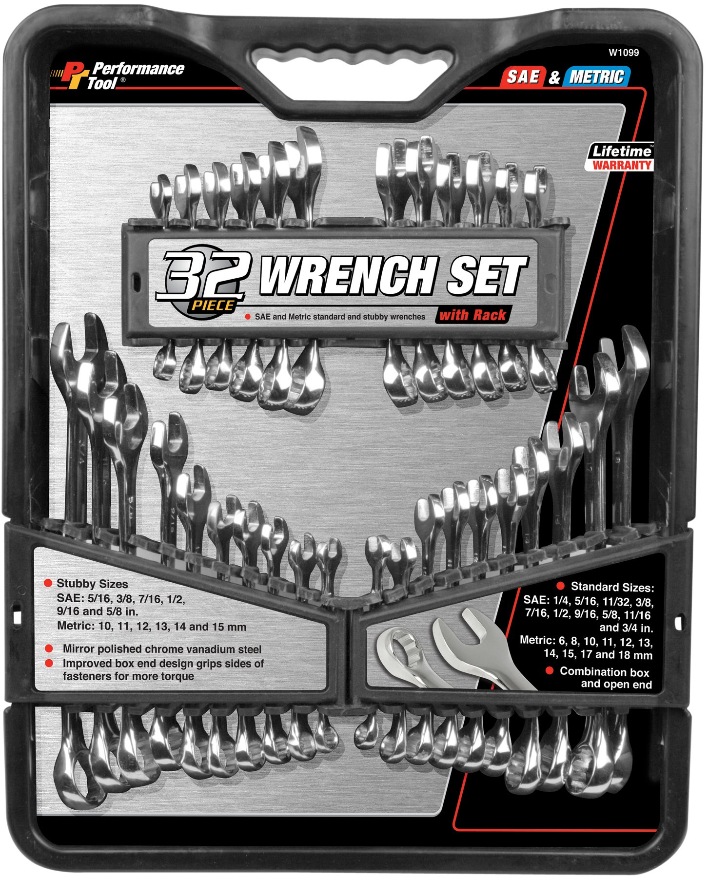 Performance Tool W1104M 13 Piece Large Metric Wrench Set
