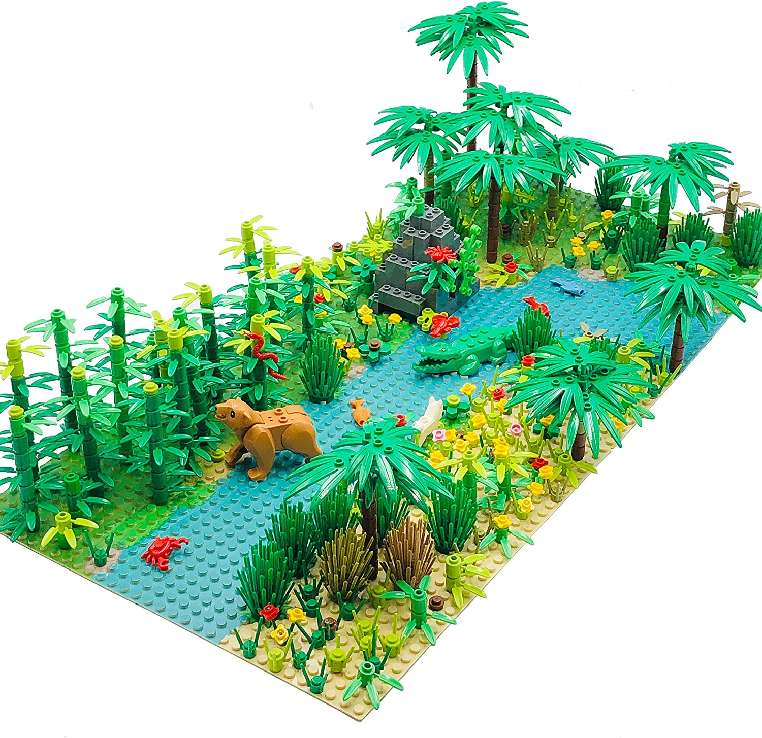 2 Pieces 10 Base Plates Plants Trees Flowers Scenery Accessories Animals Building Bricks Toy Set Compatible with All Major Brands Forest Garden Building Sets Parts
