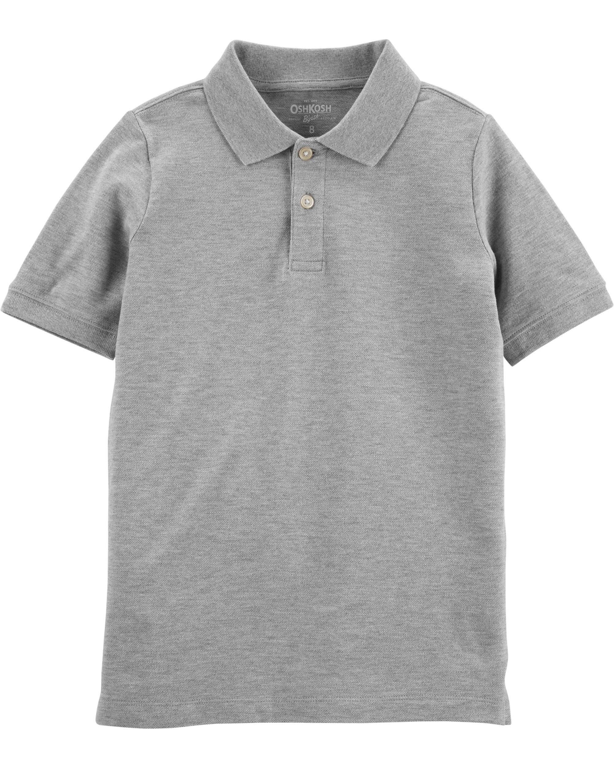 Osh Kosh Boys' Little Short-Sleeve Uniform Polo, Grey Heather, 4-5 by OshKosh B'Gosh